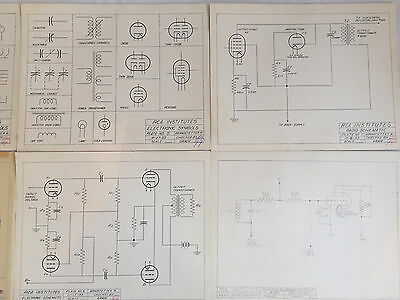 Six vintage student technical drawings-Mid Century Modern Steampunk RCA Inst.