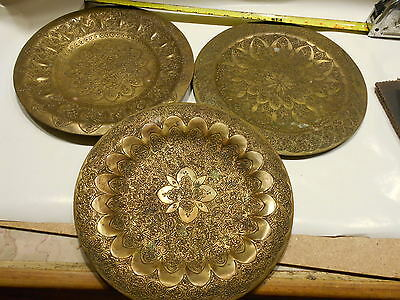 "3 Antique Heavy Hand Hammered 10"" dia. Ornamental Brass Plate Wall Hanging"