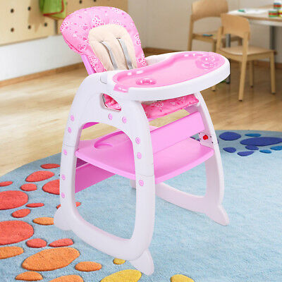 Baby High Chair Table 3 in 1 Convertible Play Seat Booster Toddler Feeding Tray