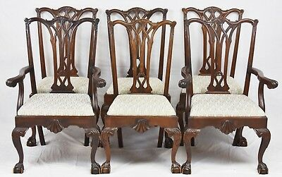 Chippendale Style Set of 6 Mahogany Dining Chairs w Claw and Ball Feet