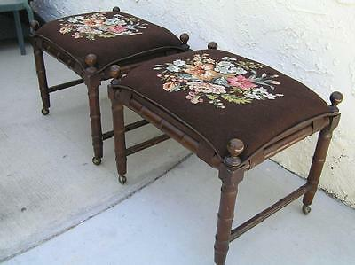 "Gorgeous pair of  Antique Footstool Needlepoint Ottomans with wheels 22"" x 19"""