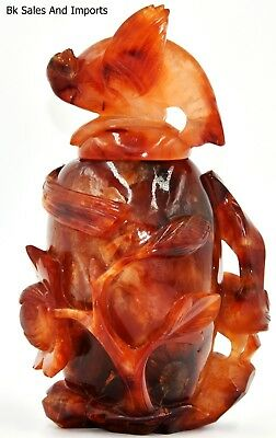 RED AGATE 3 BIRDS & LOTUS VASE, 1800's Vintage, Mint condition