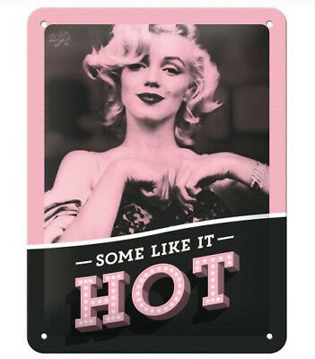 A5 Retro Tin Metal Embossed Sign MARILYN MONROE - 'SOME LIKE IT HOT' Licensed