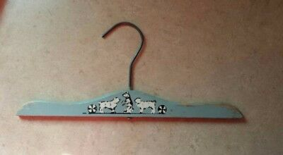 Antique Children's Wooden Clothes Hanger Painted Dogs