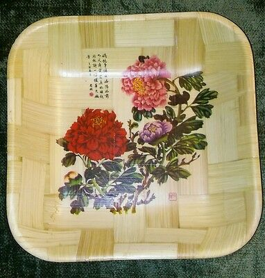 Nice 11x11 Vintage 1970's Asian Bamboo Wood Serving bowl Tray. Chinese flowers