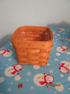 "Longaberger Basket. Measures 5"" Square By 4 1/2"" Tall With Plastic Protector"