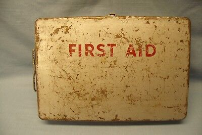 Vintage First Aid Kit Metal Box Wall Mount With Supplies