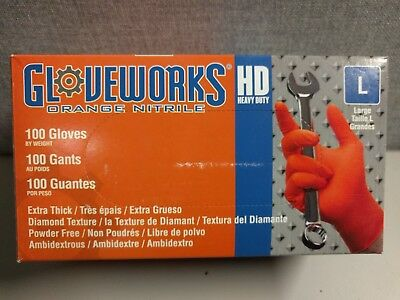 GLOVEWORKS Industrial Latex - Large-Orange Nitrile - Extra Thick- 100 Gloves