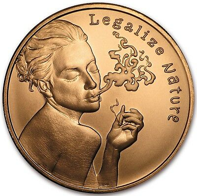 "Best Junk Drawer: "" Legalize Nature"" 1 oz Solid Copper Art Bullion - Round/Coin"