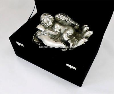 Silver Sleeping Baby Angel In Hand Infant & Child Cinerary Cremation Funeral Urn
