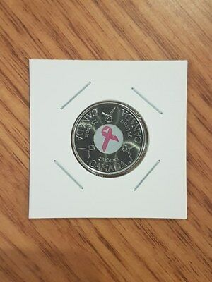 CANADIAN 2006 25c PINK RIBBON COIN BREAST CANCER AWARENESS COIN - UNC - IN 2x2