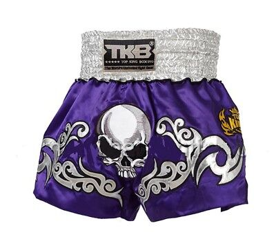 Top King Muay Thai Boxing Shorts Purple Death Skull