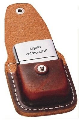Zippo ZO17020 Lighter Pouch Brown Leather Attaches To Belt Clip Light