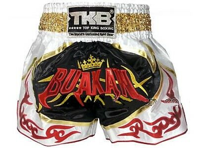 Top King Muay Thai Boxing Shorts White Black Buakaw