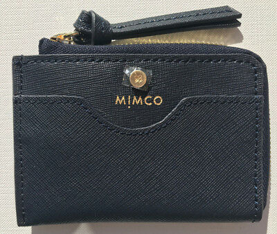 Mimco Supermicra Ink Blue Card Wallet Purse Saffiano Leather Authentic New