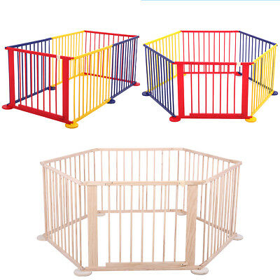 6 Panel Wood Baby Playpen Kids Safety Play Center Yard Home Indoor Outdoor Game