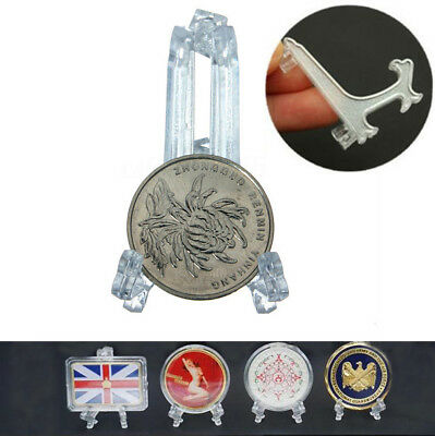 100X Clear Mini Display Stand Capsule Easels Holder / Cardboard Coin Flip/ Snaps