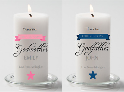 Personalised Godmother Gift Godfather Gift Godparent Gift Personalised Candle