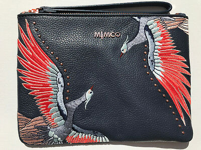 Mimco Full Flight Leather Embroidered Pouch Wristlet Medium Bag Authentic New