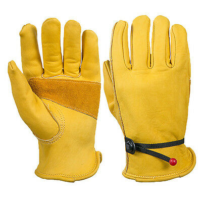 1 Pair Leather Gardening Gloves Leather Safety Work Gloves Riggers Gloves AU.