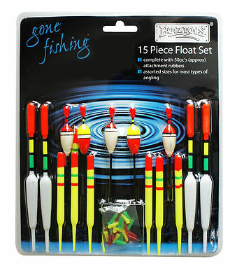 15 Piece Assorted Coarse  Fishing Float Tackle Set & Rubbers  Waggler and Avon