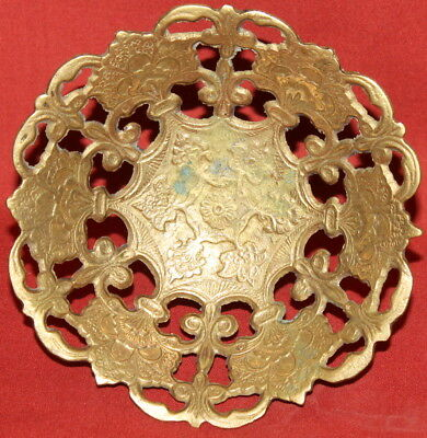 Vintage European Art Deco Solid Brass Floral Footed Bowl