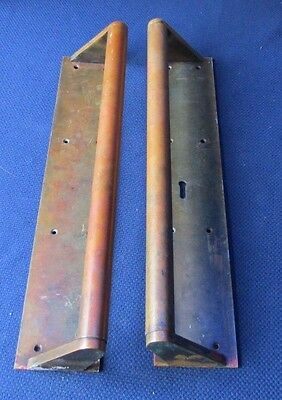 "Reclaimed Salvage Pair Large Brass Door Pull Handles 16"" 40cm w Finger Plate No2"