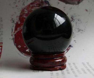 40MM+Stand Natural Black Obsidian Sphere Large Crystal Ball Healing Stone  005