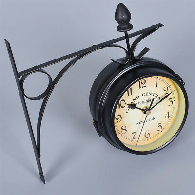 Antique Metal Double Sided Wall Mount Station Clock Vintage Style Garden Decor