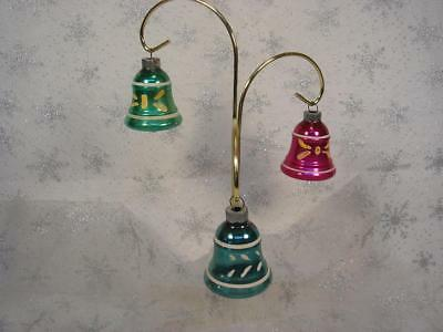 Lot Of 4 Vintage Shiny Brite Glass Bells Hand Painted Christmas Ornaments