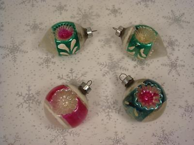 Lot Of 4 Vintage Shiny Brite Glass Double  Indent Teardrop Christmas Ornaments