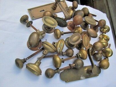 Job Lot Of Old Antique / Vintage Brass / Bronze Door Handles / Knobs Etc