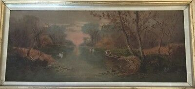 Stunning Victorian Oil Painting - Antique Landscape Scene, Gilt Ornate Frame