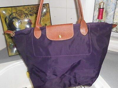504b1f5a5a5e Nice Longchamp Le Pliage Deep Purple Nylon Xl Tote Shopper Brown Leather  France