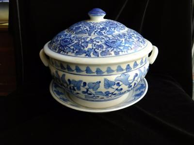 Asian Blue and White Porcelain Serving Bowl with Handles, Lid, & Plate - Marked