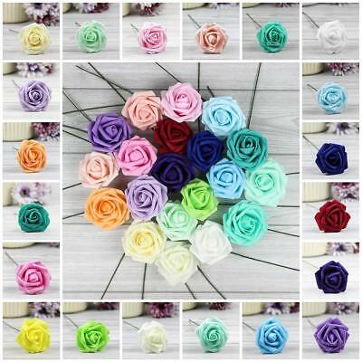 10X 50X Foam Rose Artificial Fake Flower Wedding Bride Bouquet Party Home Decor