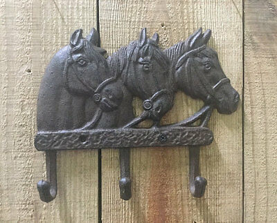 Cast Iron Triple Horse Head with 3 Coat Hooks Wall Mounted Western Decor