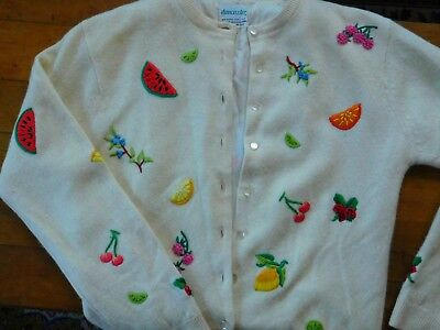 Vintage 50's Embroidered Fruit & Flowers Sweater Rabbit Lamb's Wool Lined.
