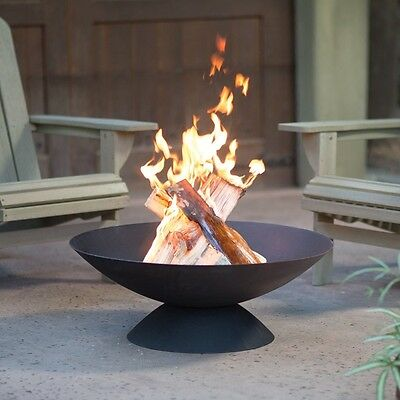 """Outdoor Fire Pit Bowl Small Wood Burning Cast Iron Fireplace 30"""" Spark Screen"""