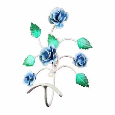 """Flower Hook Wrought Iron Multi Colored 9"""" H X 7 1/2"""" W 