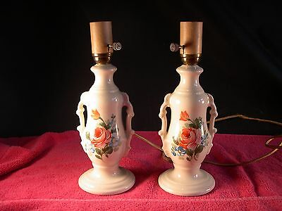 Beautiful Antique Pair of Porcelain Lamps Rose Design Table lamp Bedroom Works