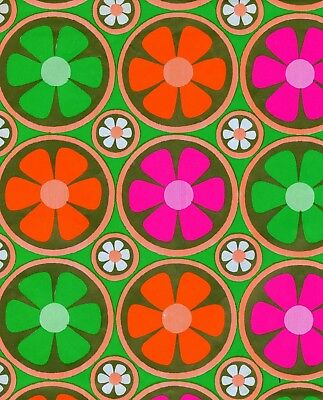 Vintage 70s Mod Flower BIRTHDAY or ALL OCCASION Gift Wrap-Wrapping Paper-NOS #39