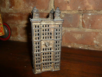 "Original Fantastic Old Vintage Cast Iron Bank. . Four towers.  6"" tall! NR!!!"