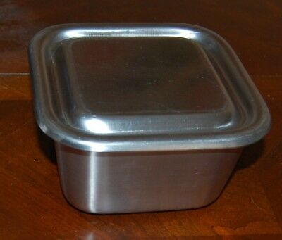 """Vintage Vollrath stainless steel refrigerator container about 6"""" square 3"""" deep"""