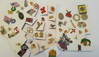 Nice Vintage Lot of Small Pins and Tacks pins - 54 Pieces girl scout flags stars