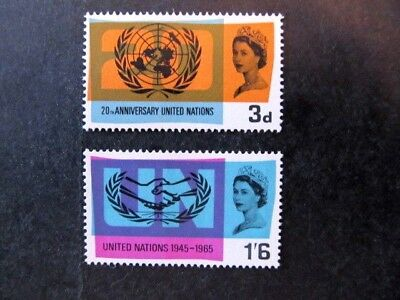 GREAT BRITAIN, SC# 440-441, 20th ANNIVERSARY of UNITED NATIONS SET (1965) MNH