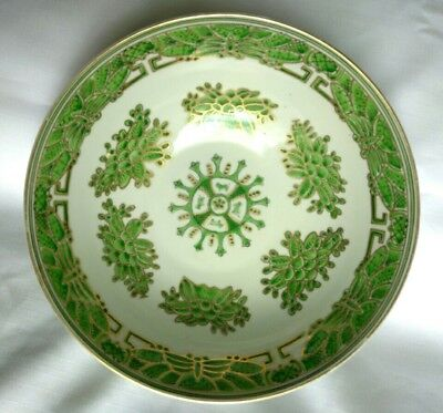 """Green/White Porcelain Footed 9.5"""" Chinese Bowl #6289 Gold Trim"""