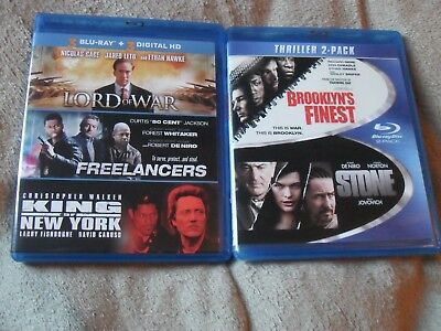 Blu-ray Lot Lord of War King of New York Freelancers Brooklyn's Finest Stone