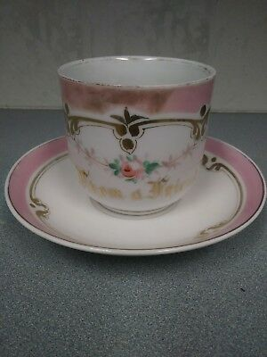 1800s Ornate Antique Victorian Large Cup Saucer Set~Hand Painted Flowers Gold
