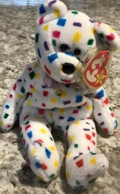 NEW Ty Beanie Baby 2K Confetti Teddy Bear Mint Condition